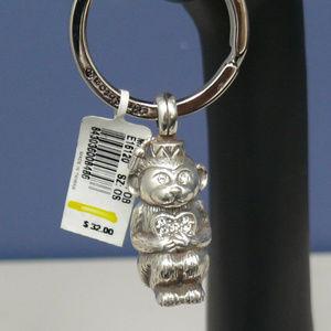 Brighton Monkey Love Key Fob Silver & Crystals